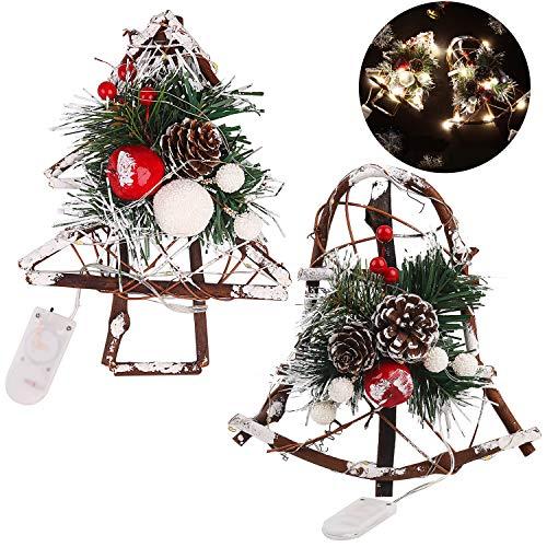 Decoración artesana navideña campana y árbol
