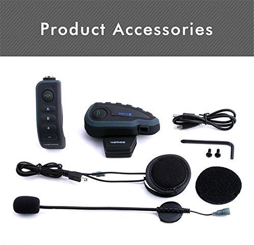 Intercomunicador Moto Bluetooth BT Interphone con Mando a Distancia FM NFC 5 Jinetes 1200M