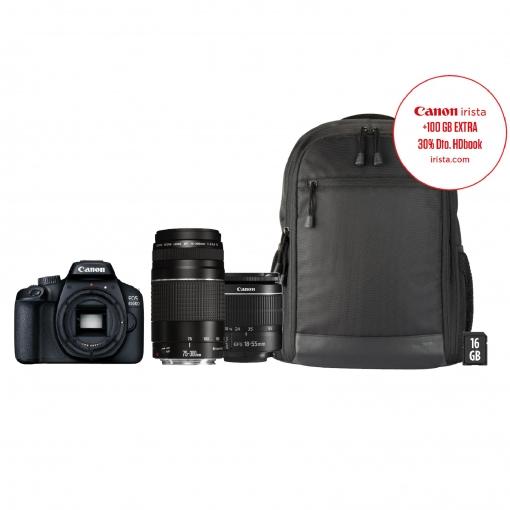 Cámara Réflex Canon EOS 4000D EF-S 18-55mmDC + 75-300DC con funda y SD 16GB
