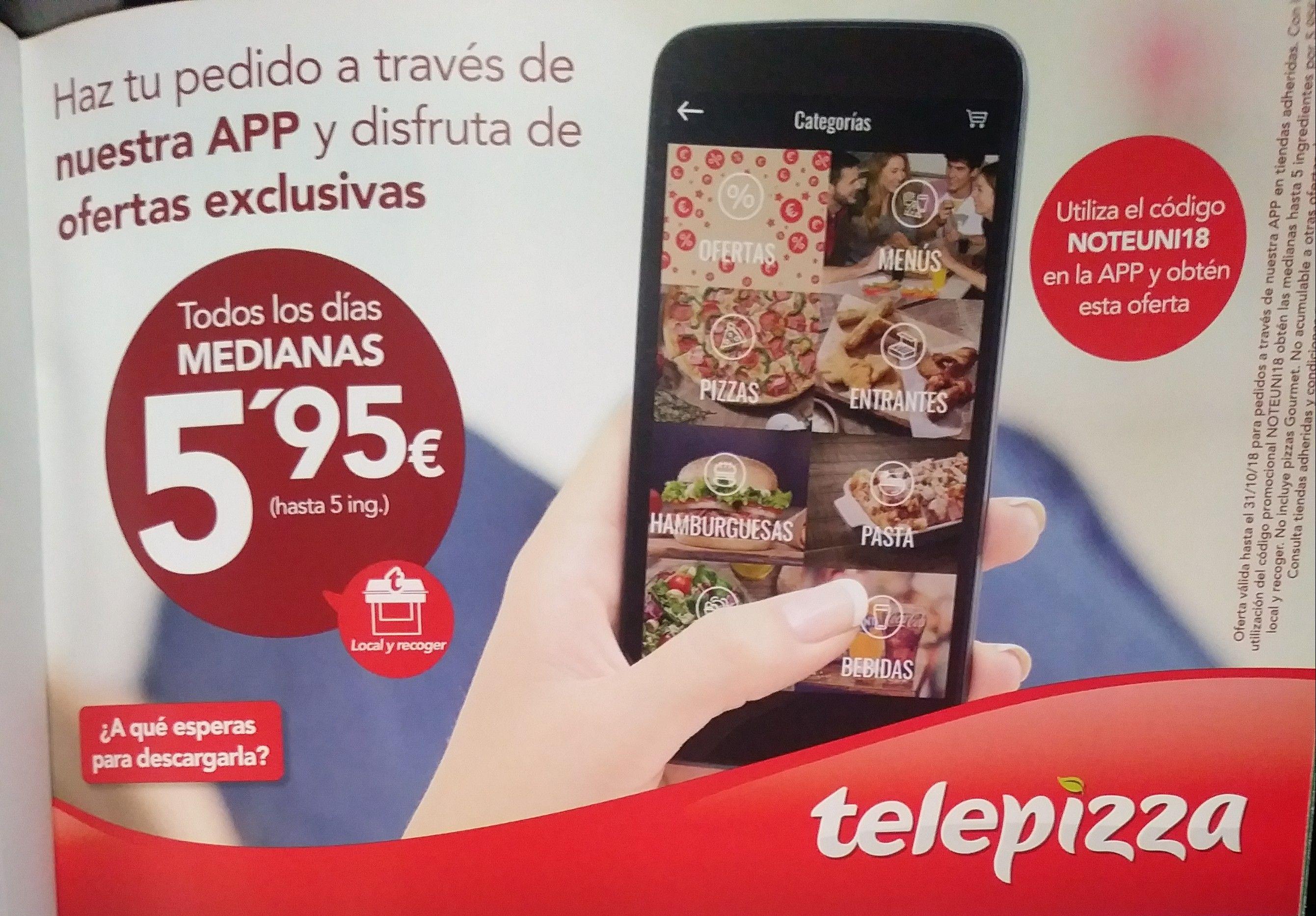 Telepizza Medianas 5.95€