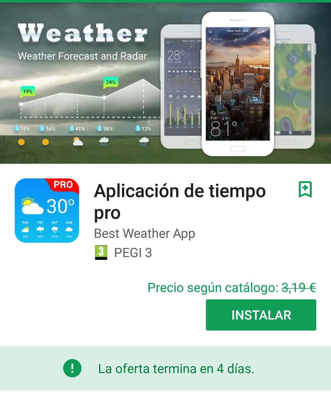 Aplicación del tiempo pro