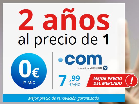 Dominio .com 2 AÑOS a precio de 1