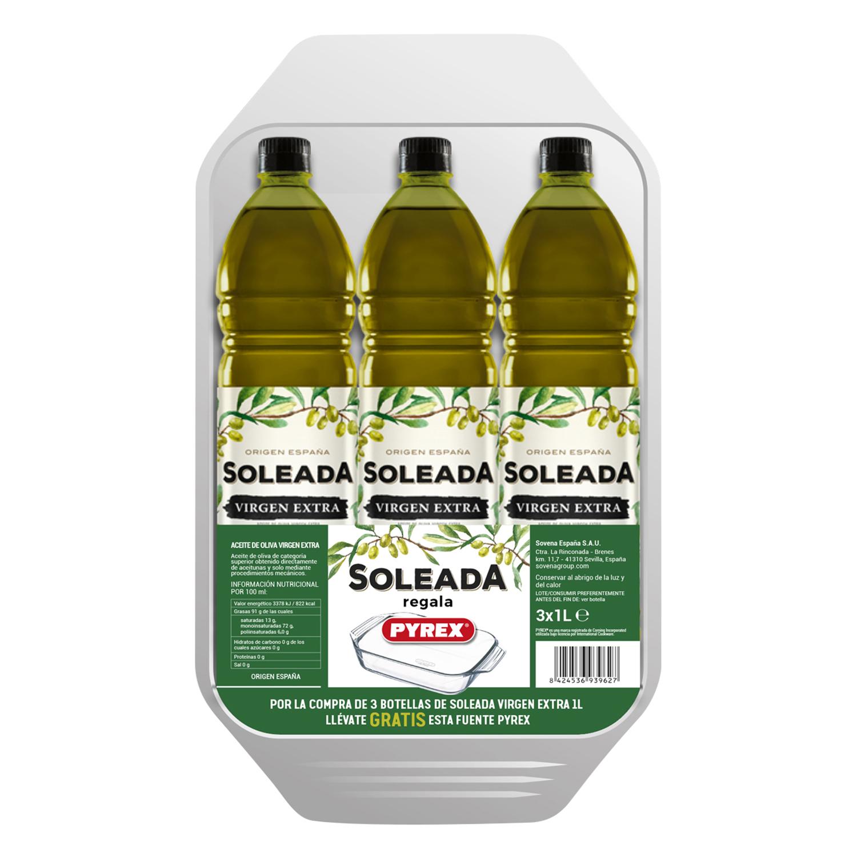 3 botellas de aceite + Bandeja Pyrex. Carrefour Zamora