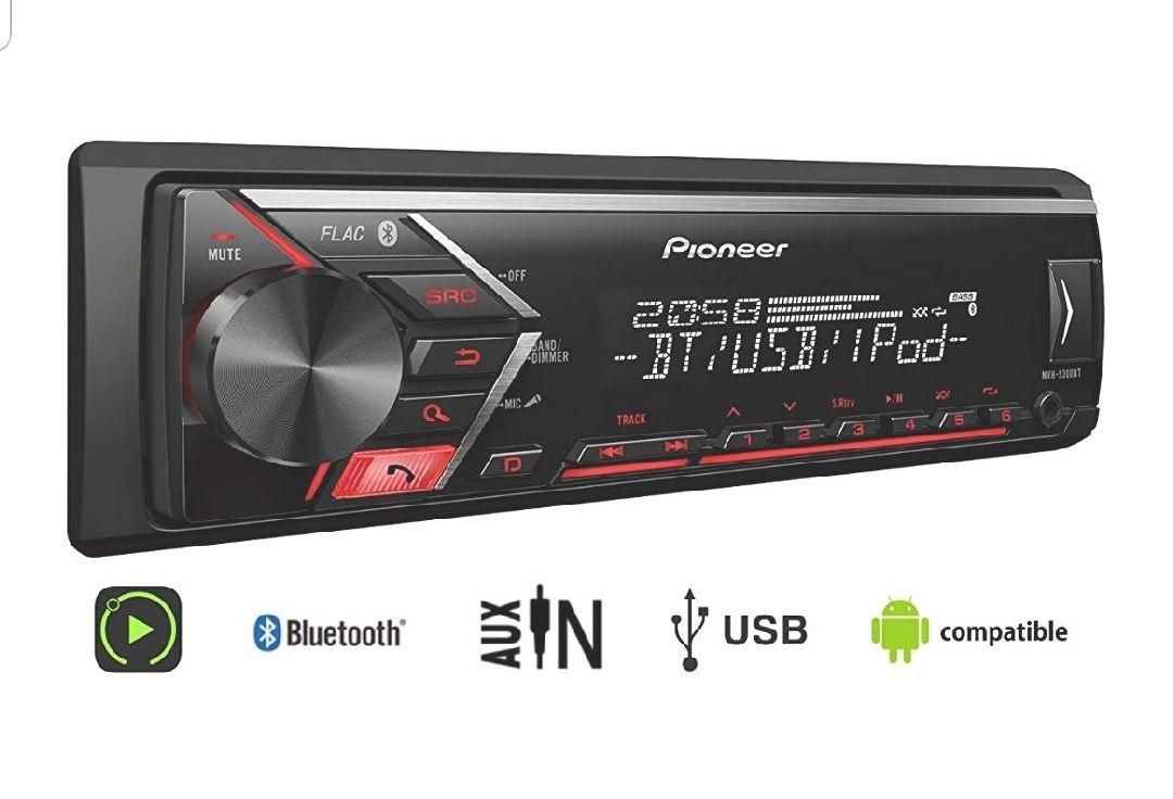 Radio para coche Pioneer s300bt USB, Entrada AUX, Manos Libres, 1/2DIN Bluetooth