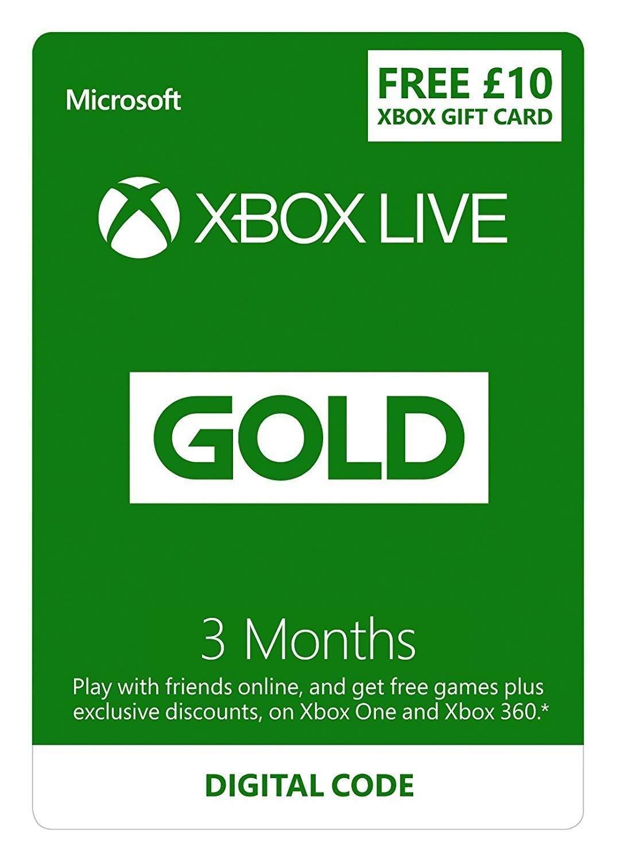 Membresía Gold de 3 meses de Xbox Live + £ 10 de crédito GRATIS