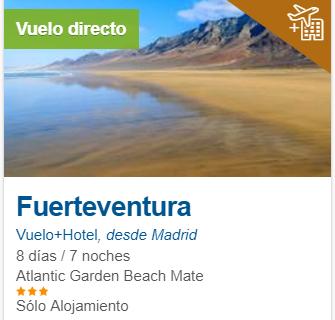 Fuerteventura 248€/p = 7 noches en hotel 3* y vuelos de ida y vuelta