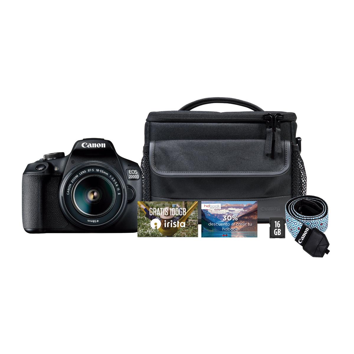 Cámara réflex Canon EOS 2000D con Objetivo EF-S 18-55 mm IS II
