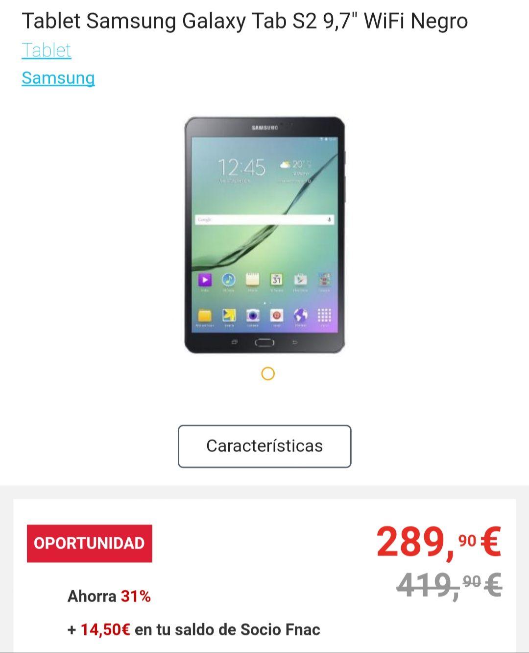 "Samsung Galaxy Tab S2 9'7"" WiFi Negro"