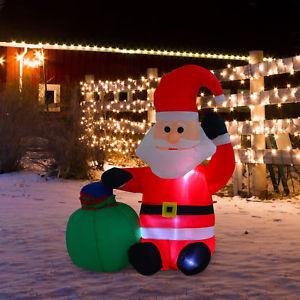 Papa Noel Hinchable + Luz LED Decoración Navidad Inflable 70x45x120cm Sana Claus