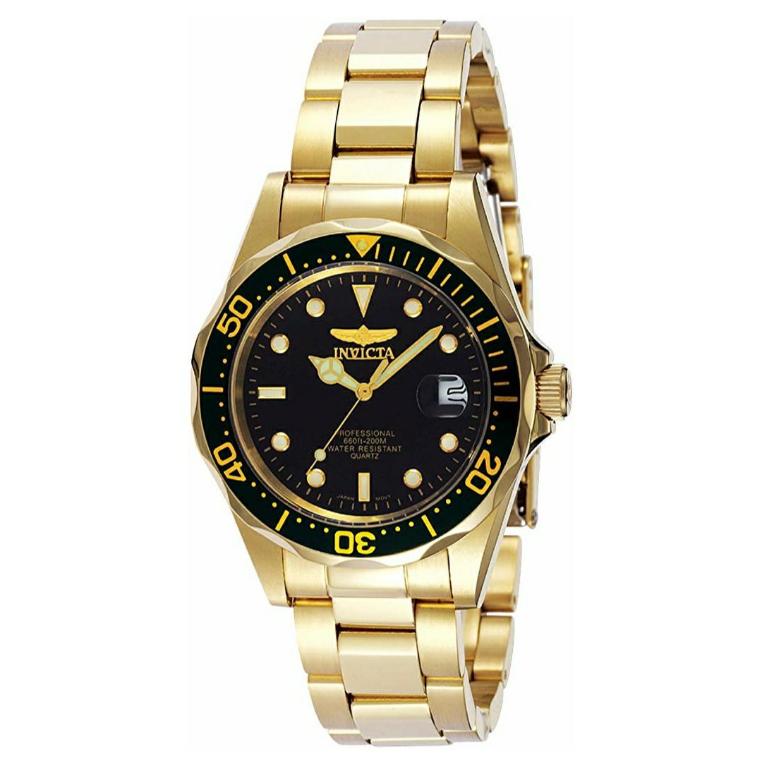 Invicta 8936 Pro Diver Reloj dorado Unisex acero inoxidable Cuarzo Esfera negro