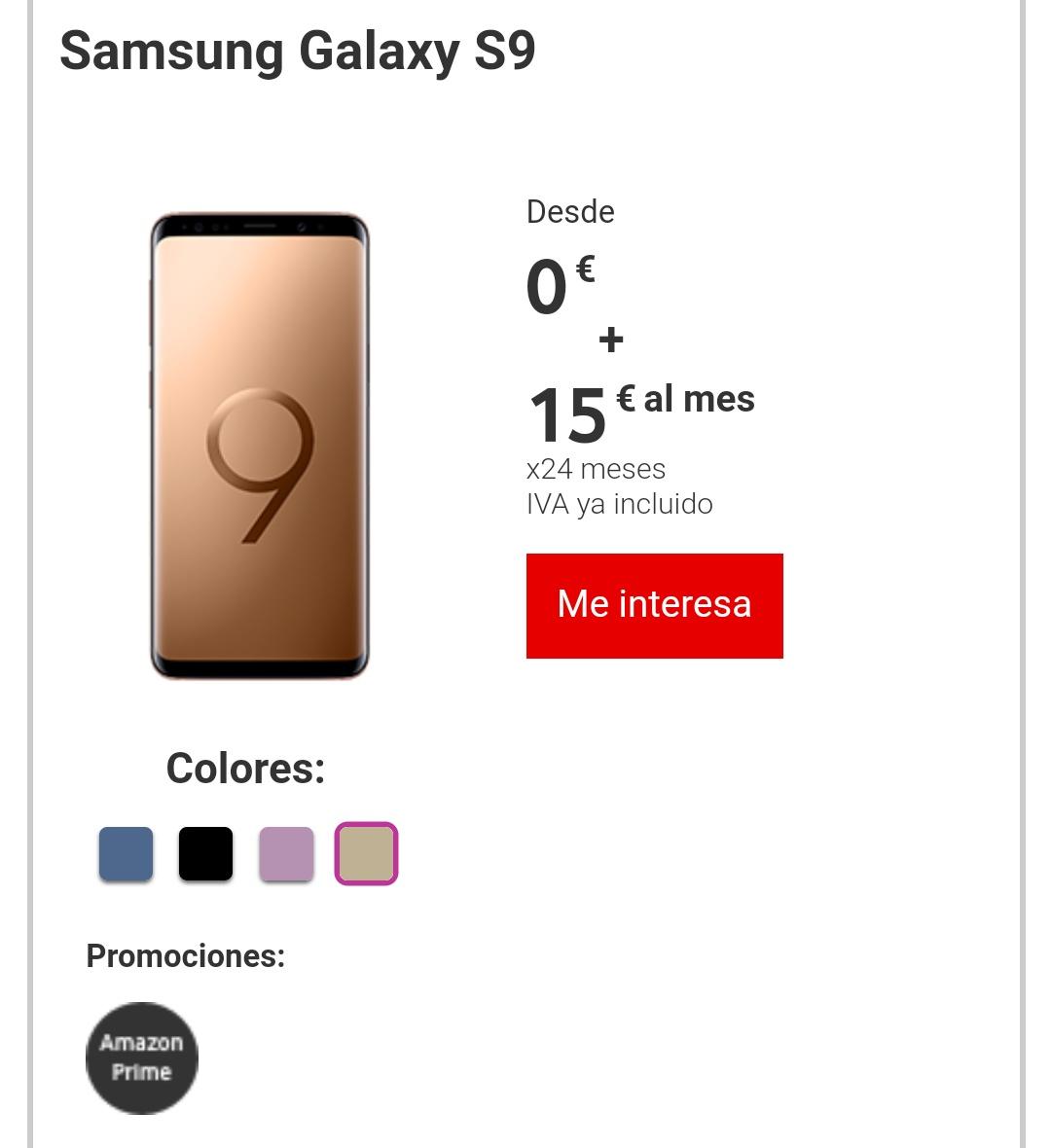 Samsung Galaxy S9 y S9 Plus clientes Vodafone