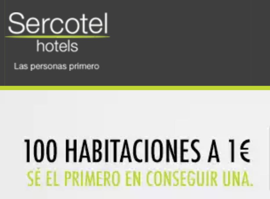 SERCOTEL: Promoción 100 habitaciones a 1€