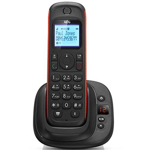 "AEG Thor 15 - Telefono Fijo Inalambrico Dect (2 Líneas, contestador digital, pantalla de 1.6"", agenda de 100 contactos, Eco Mode), Negro"