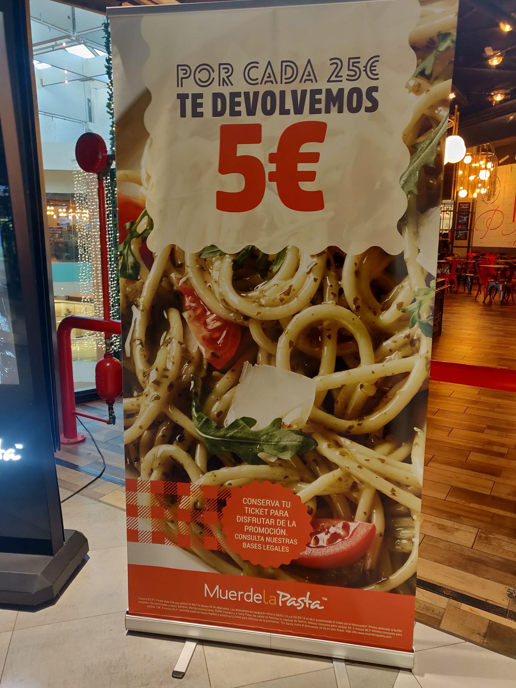 5€ por cada 25€ en Muerde La Pasta