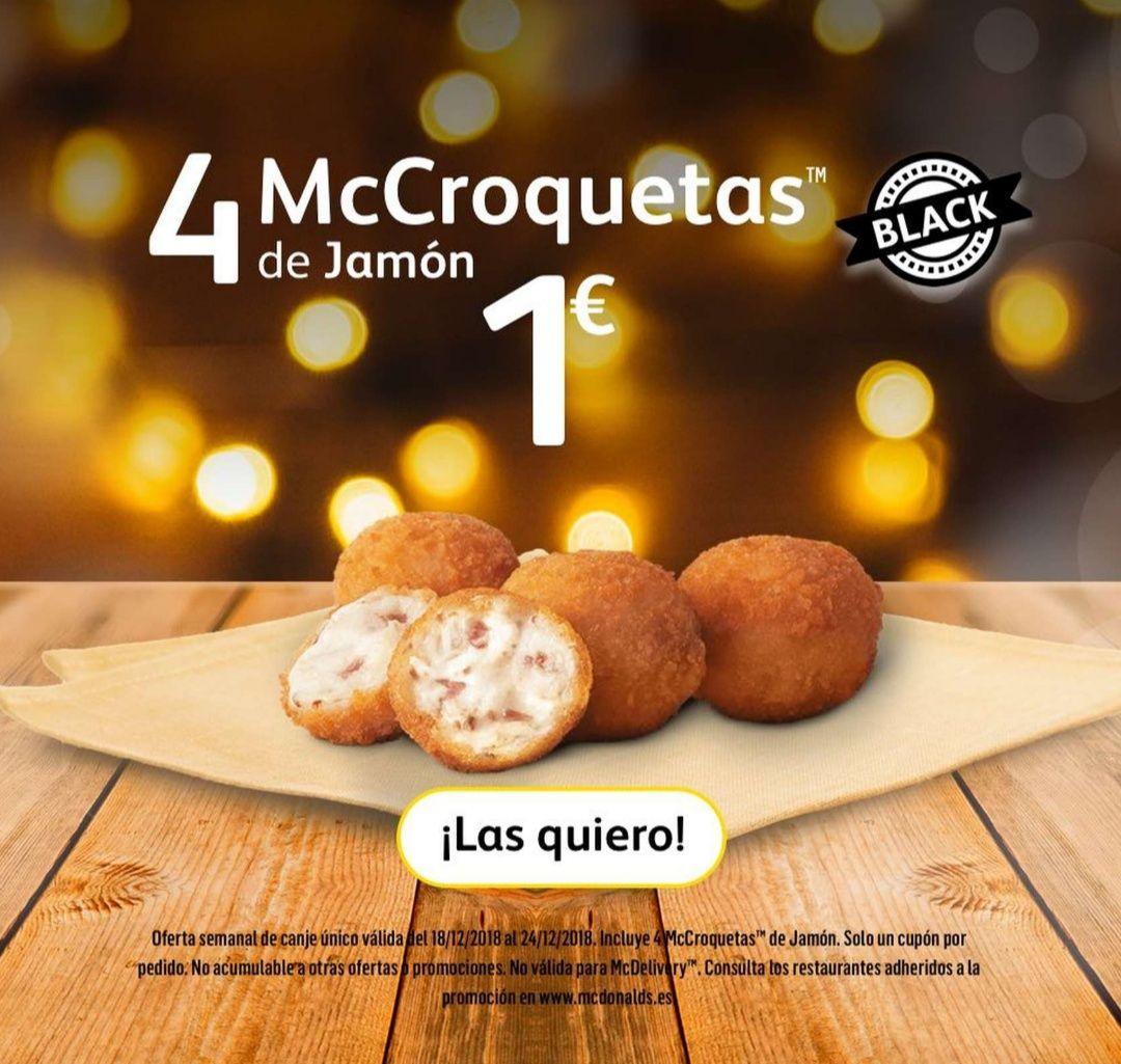 4 McCroquetas de jamón 1€ Oferta semanal McDonald's