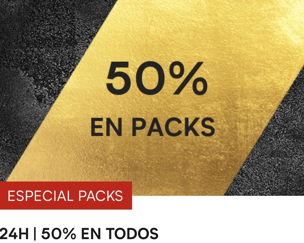 -50% EN TODOS LOS PACKS + 2x1 EN SELECCIONADOS + -40% DESCUENTO EN ROPA DURANTE 24H!!!