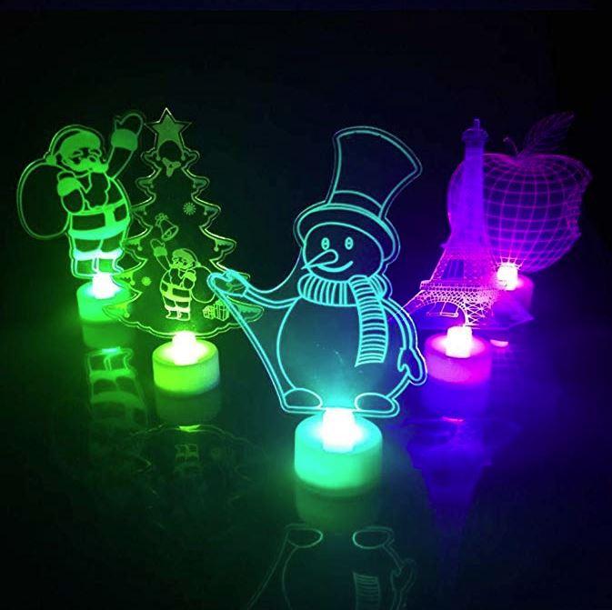 3D Lámpara de Escritorio Mesa Botón Táctil LED