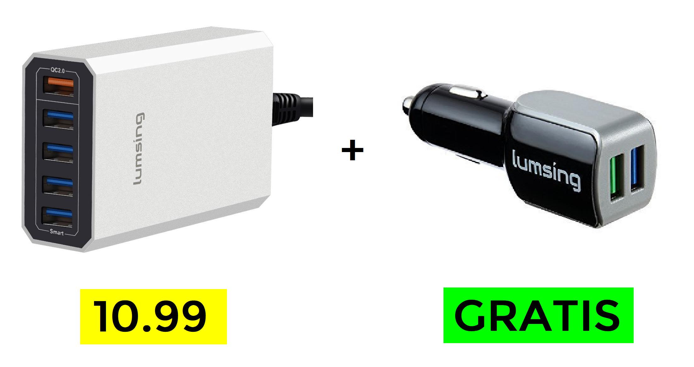 Pack regalo Cargador + Cargador de coche ambos Quick Charge