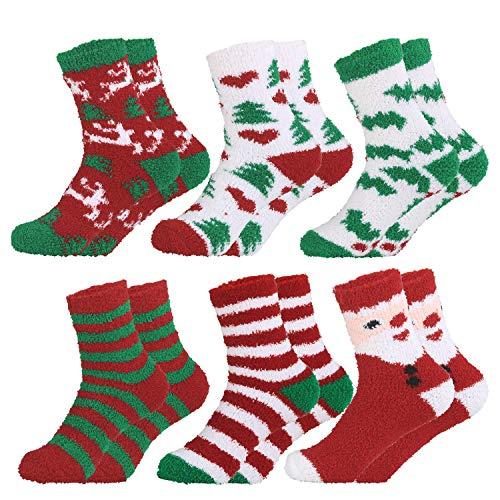 6 Pares de calcetines de lana navideños para mujeres