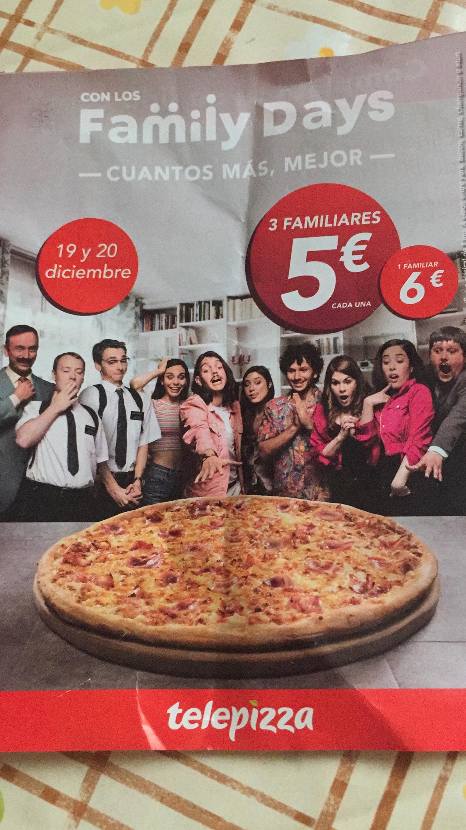 3 pizzas familiares 5€ cada una (A RECOGER)
