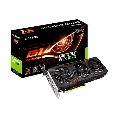 Amazon Gráfica de 8 GB Gigabyte GeForce GTX 1070 G1 Gaming + Pack Fortnite +Monster Hunter World