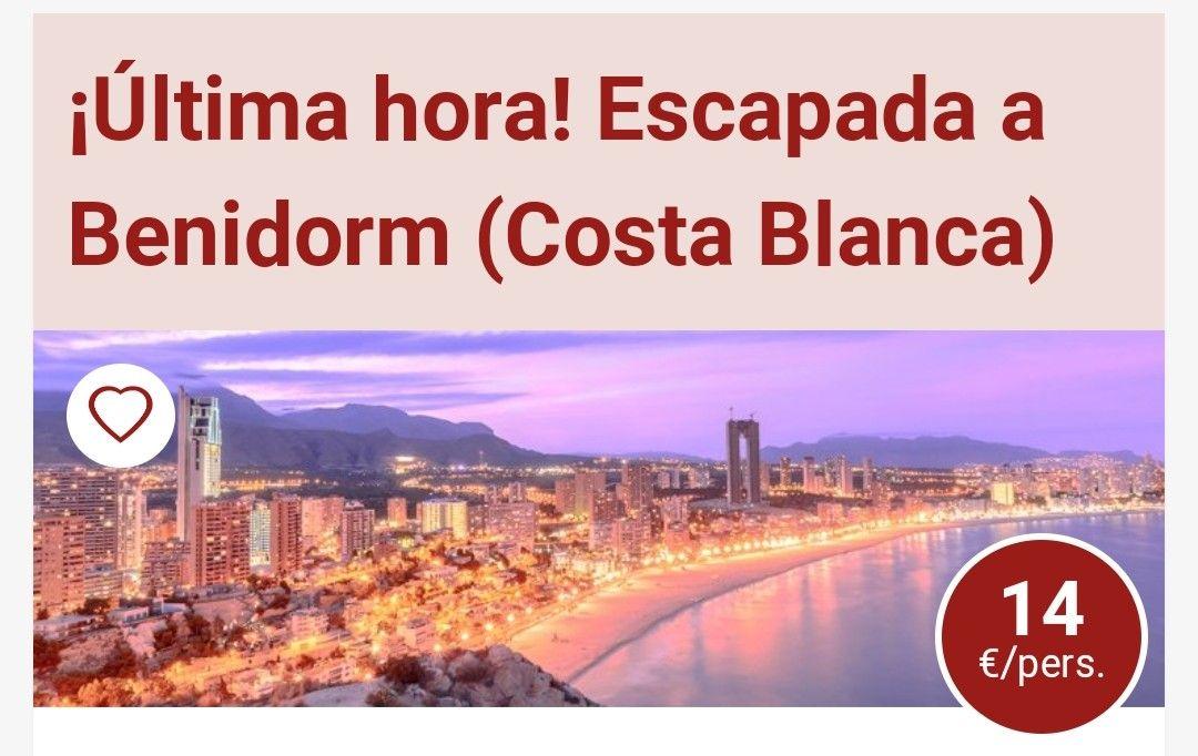 SUPER OFERTA DE ULTIMA HORA.3 DIAS Y 2 NOCHES EN BENIDORM. 14€ POR PERSONA LAS DOS NOCHES.