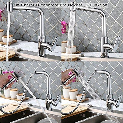Grifo Giratorio de Cocina Homelody 2 Funciones 360° extraíble Grifo para Fregadero Monomando de Fregadero Grifería cocina Agua Fría y Caliente Cromado