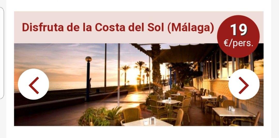 2 DIAS Y 1 NOCHE CON ALOJAMIENTO Y DESAYUNO EN MALAGA( COSTA DEL SOL) HOTEL 3 ESTRELLAS.