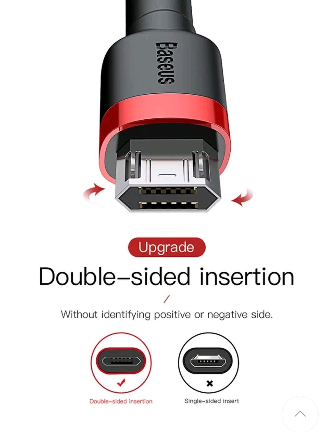 Cable micro USB ¡¡Reversible!! Baseus, carga rápida.