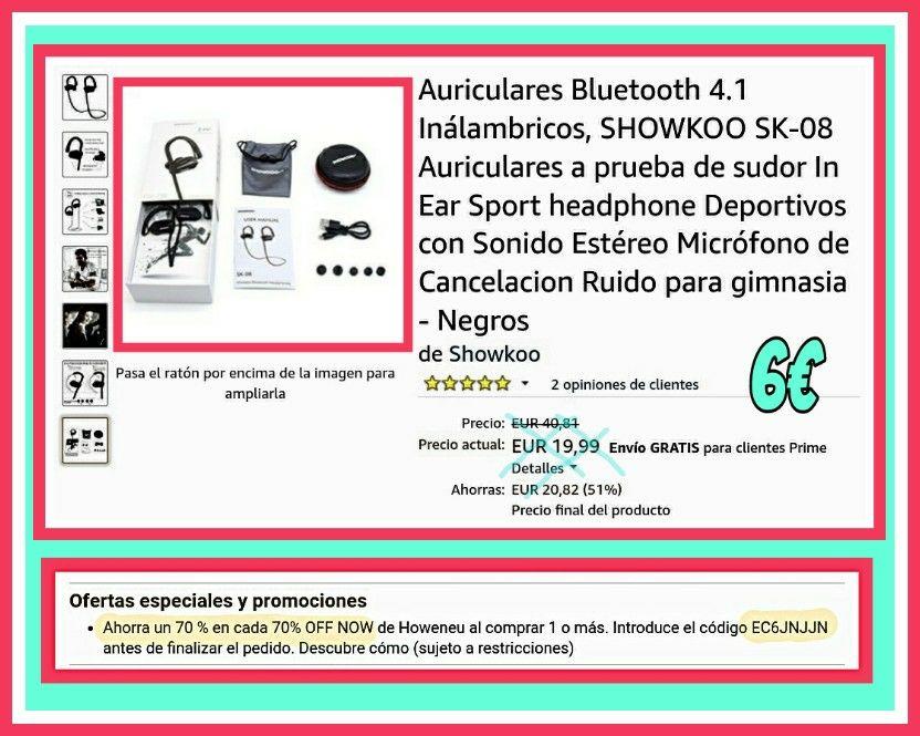 Auriculares Bluetooth 4.1 Inálambricos, SHOWKOO SK-08
