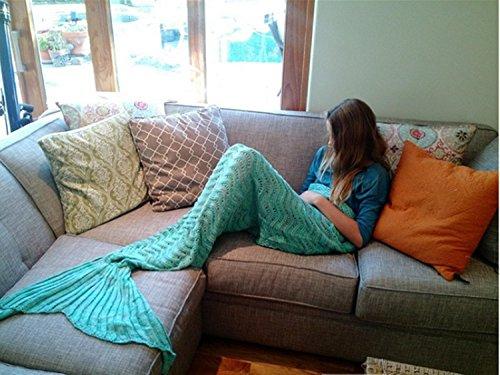 Manta estilo cola Sirena Mermaid Tail Blanket Adult Crochet Mermaid Tail Blanket Seasons Mermaid Blanket Adult Warm Soft Living Room Quilt Sleeping Bag Best Birthday Christmas gifts For Kids Adult