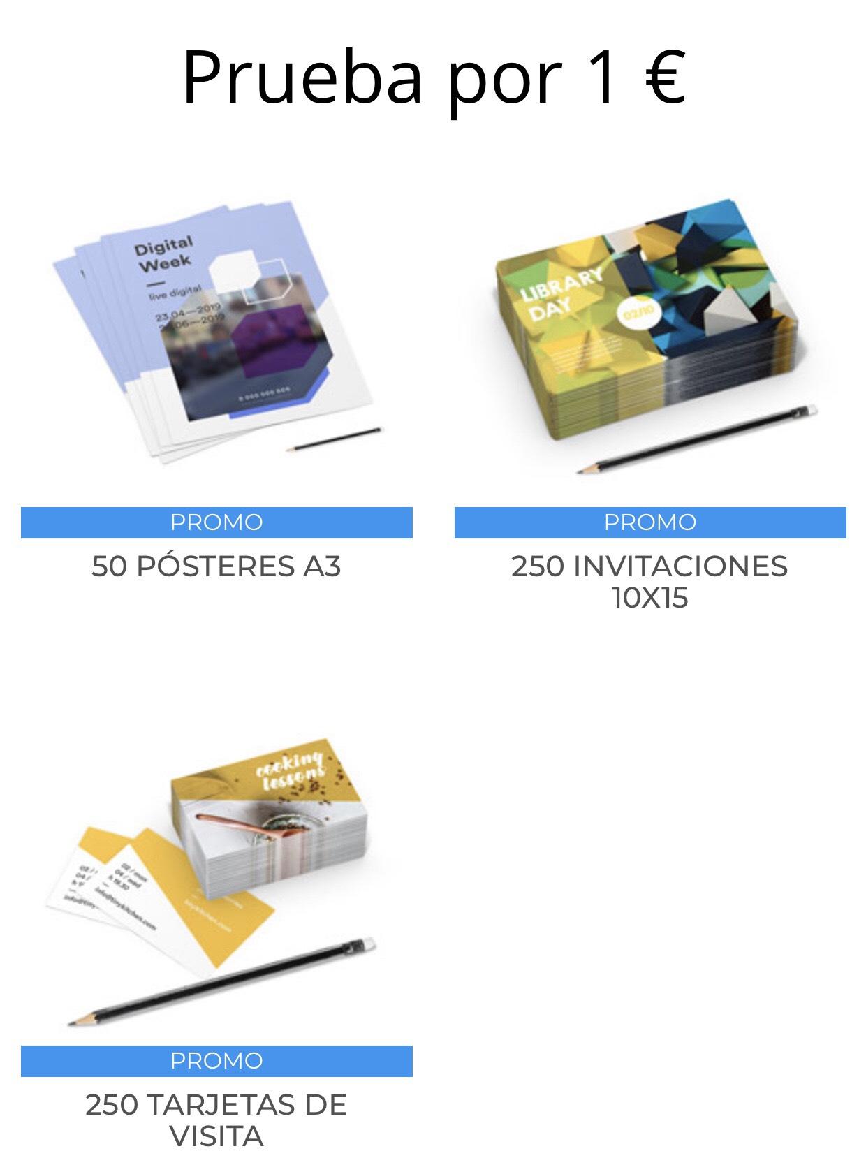 ¡Prueba por 1€ productos de Pixartprinting!