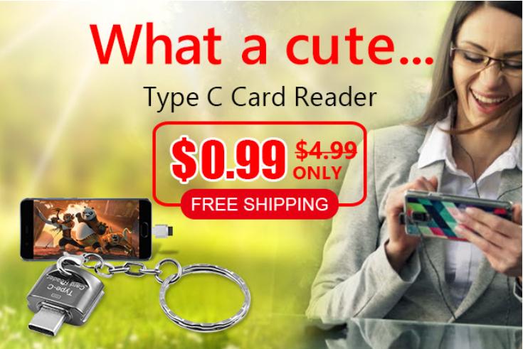 Lector de tarjetas USB tipo-C con llavero para tarjeta Micro SD