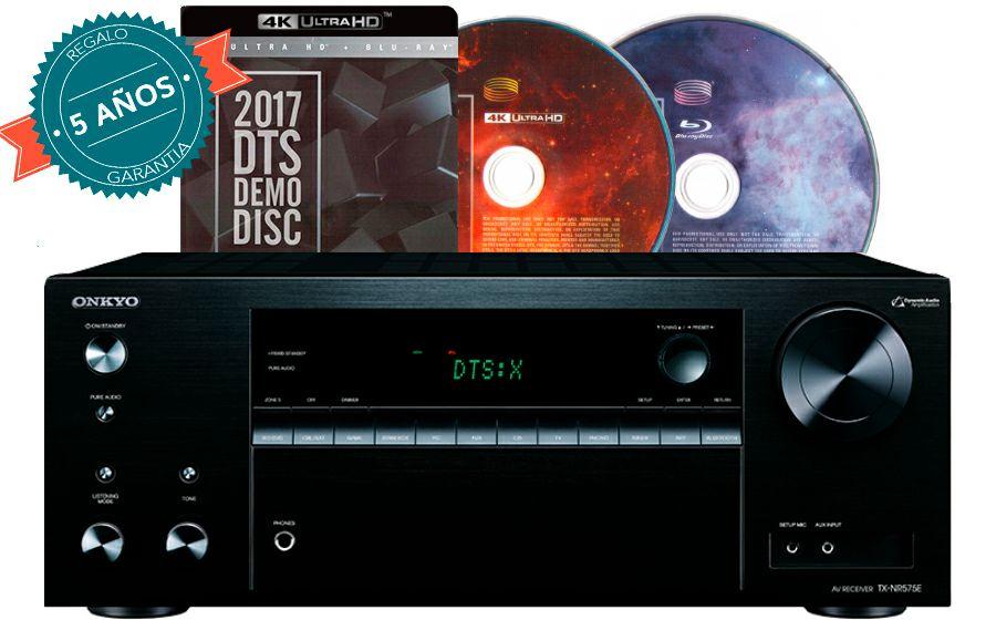 Receptor AV Onkyo TX-NR575E con5 Años de garantía, Disco Demo DTS X 2017 en 4K Ultra HD (Blu-Ray) y 6 meses de suscripción gratuita a Rakuten Wuaki.