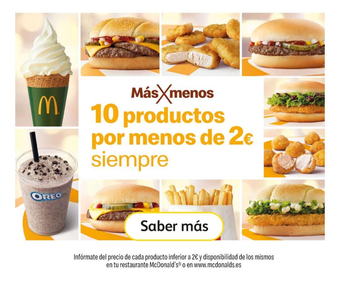 10 Productos de McDonald's que valen menos de 2€