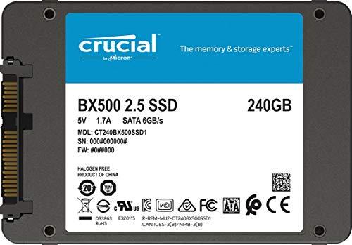Crucial BX500 CT240BX500SSD1 - Disco Duro Sólido Interno SSD de 240 GB (3D NAND, SATA, 2.5 Pulgadas)