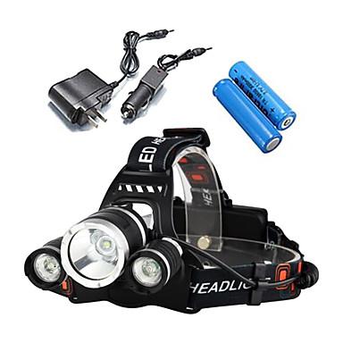 Linternas de Cabeza Luces para bicicleta Faro Delantero LED 5000 lm 4.0 Modo Cree XM-L T6 Resistente a Golpes Recargable Impermeable