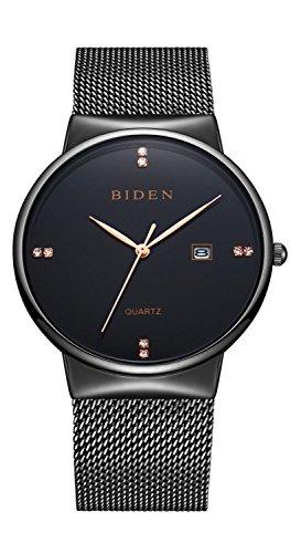 Reloj de pulsera Binzi unisex, de cuarzo, diseño extrafino negro y dorado, con calendario y correa de metal