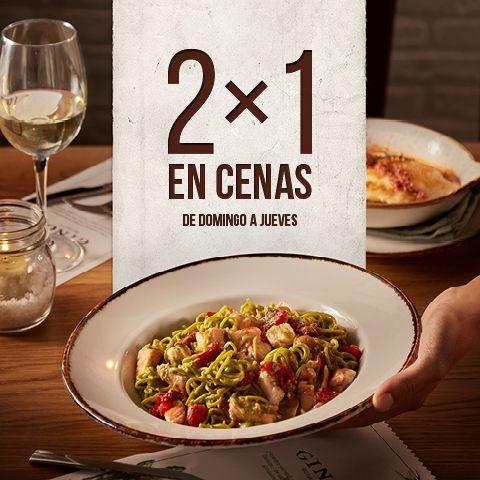 2 x 1 en cenas Ginos