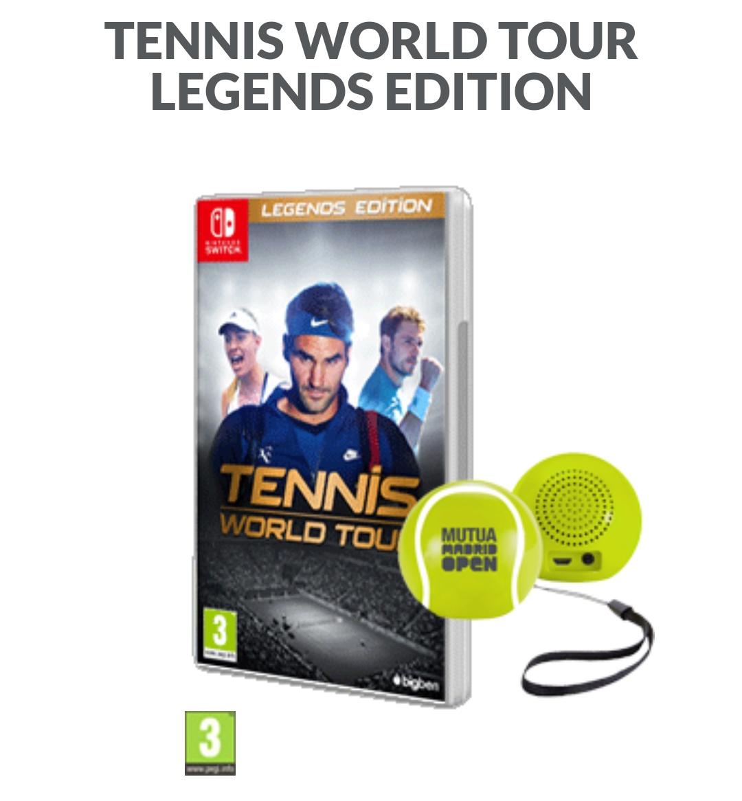 Tennis World Tour Legends Edition con altavoz bluetooth pelota de tenis. Nintendo Switch.