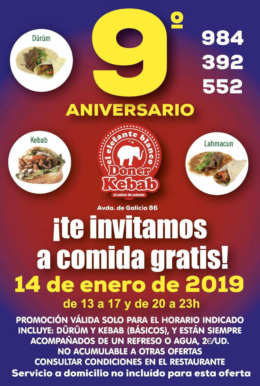 Kebab gratis en Gijon con la compra de 1 refresco(2€)