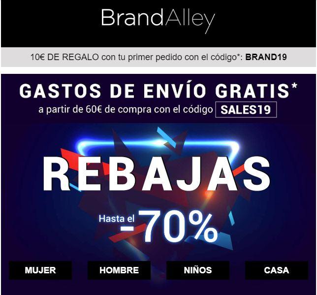BrandAlley, Hasta un 70% de descuento y ENVÍO GRATIS