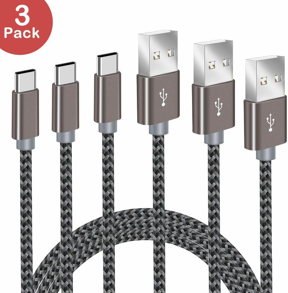 Lote de 3 cables tipo C de 2M trenzados, velocidad de transferencia de hasta 480MB/s.