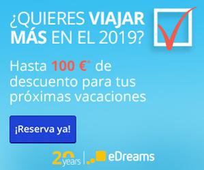 Rebajas en eDreams, -30€ viajes y -100€ viajes+hotel