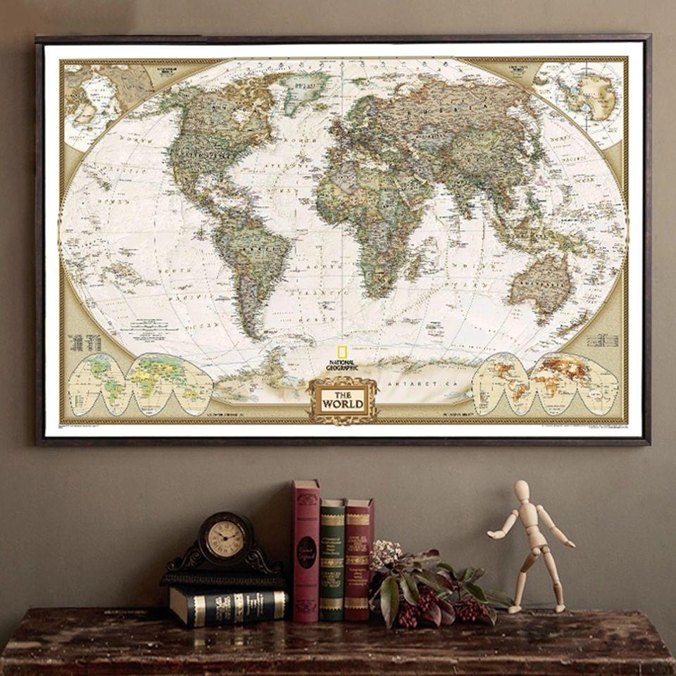 Poster retro Mapa del mundo