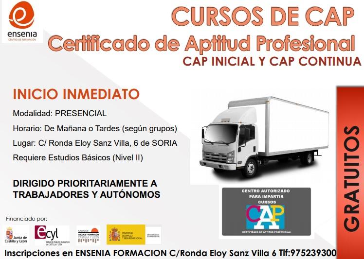 Curso CAP transporte gratuito Soria