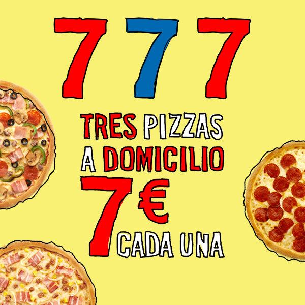 3 pizzas por 7€ cada una, a domicilio