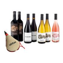 Caja mixta vinos Aroa y Le Naturel Navarra con regalo bota de vino