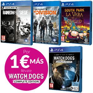JUEGO PS4 A ELEGIR + WATCH DOGS COMPLETE POR 1 EURO MÁS