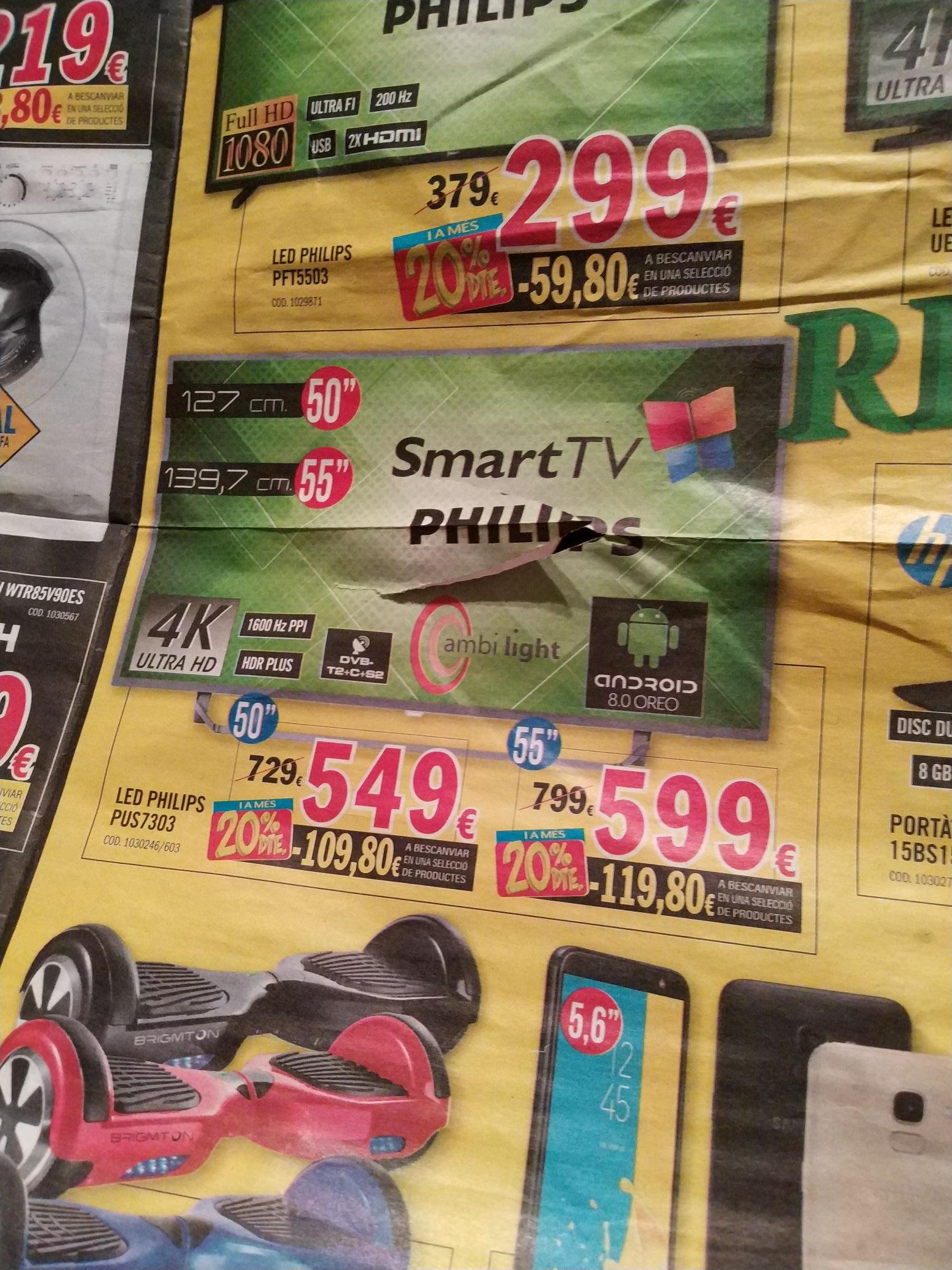 """LED Philips 55"""" 55PUS7303 599e + 119'8 en productos seleccionados (tienda kioto)"""